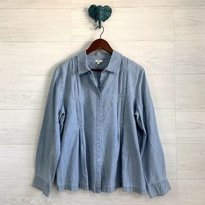 J Jill Large Button Up Pleat Detail Chambray Top